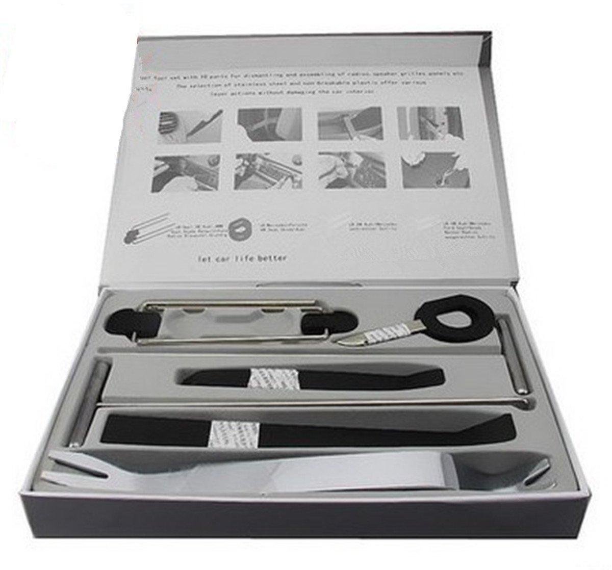 BININBOX 9pcs Auto Door Clip Panel Trim Removal Tool Kits For Car Interior Dash Radio Audio Installer Pry Tool