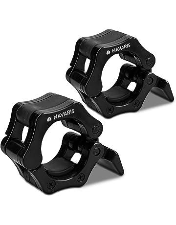 Navaris 2X Abrazaderas para Levantamiento de Pesas - Par de topes para Barra olímpica - Abrazadera