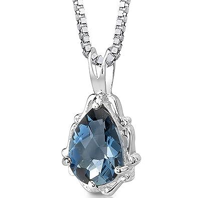 Amazon london blue topaz pendant necklace sterling silver london blue topaz pendant necklace sterling silver pear shape 225 carats mozeypictures Images