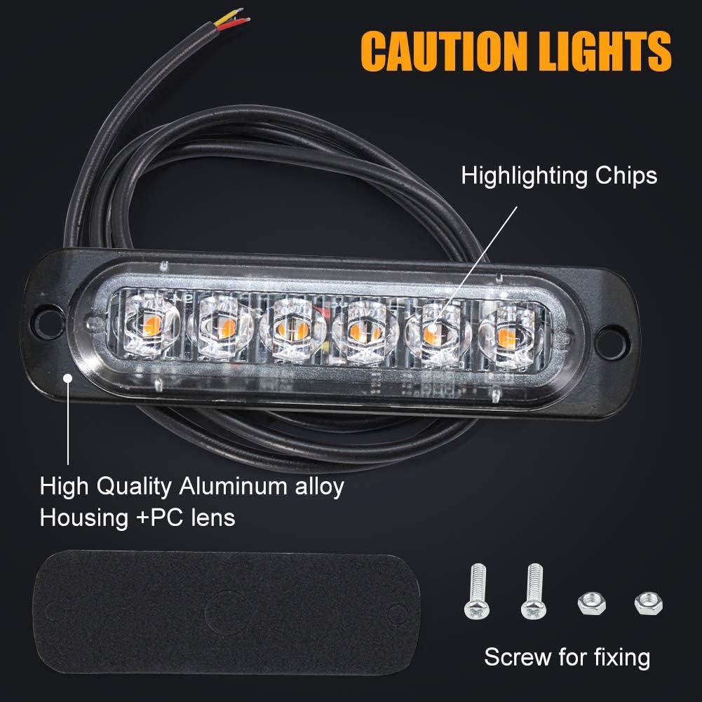 4Pack Warning Flashing Light Side Warning Light Universal for 12-24V Car Vehicle Truck Trailer Caravan Camper Van Amber Emergency Hazard Strobe Light