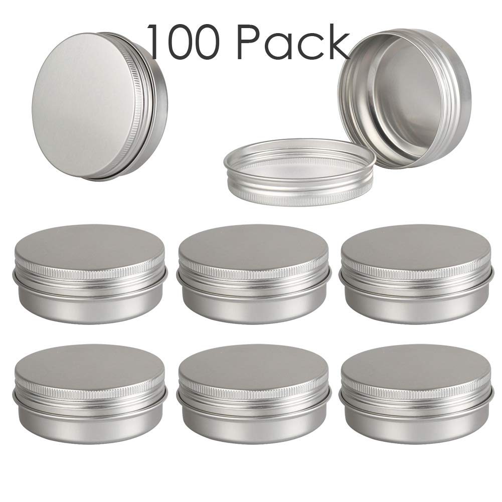 DLIBUY (Pack of 100) 60G(2 oz)/60ML Empty Aluminum Tins Cans Jars Travel Containers with inner liner make up powder -Screw Lid Round Bottle for Lip Balm Cosmetic-Anti-Leakage
