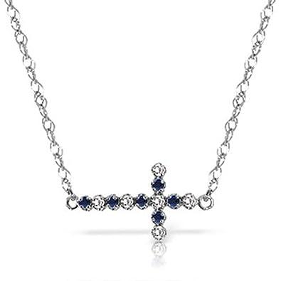 246e64ac13467 Amazon.com: ALARRI 0.24 CTW 14K Solid White Gold Cross Necklace ...