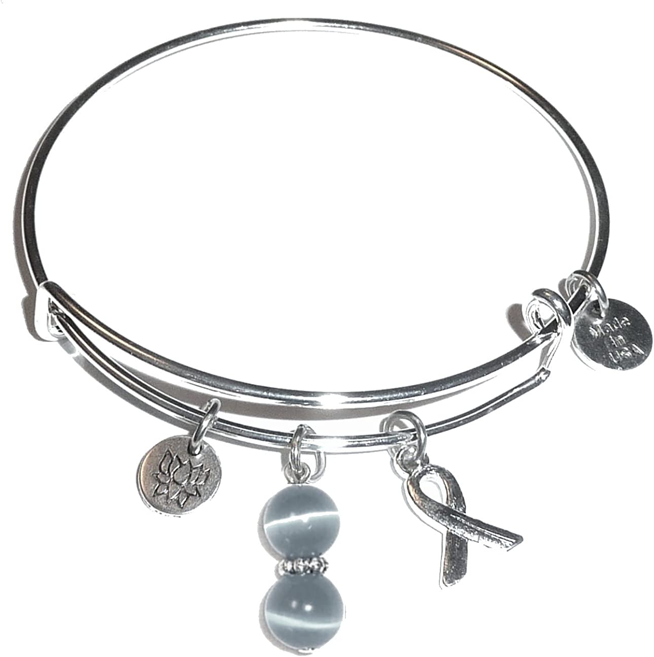 Hidden Hollow Beads Cancer Awareness (Hope for The Cure) Expandable Wire Women's Bangle Bracelet, Made in USA, Comes in a Gift Box!