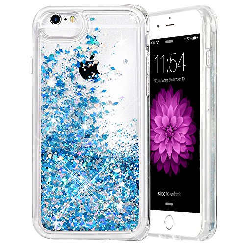"iPhone 6/6S/7/8 Case, Caka iPhone 6S Glitter Case [With Tempered Glass Screen Protector] Bling Flowing Floating Luxury Glitter Sparkle TPU Bumper Liquid Case for iPhone 6/6S/7/8 (4.7"") - (Blue)"
