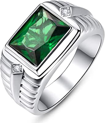 BONLAVIE Men's Wedding Engagement Rings Emerald Cut 8x10mm Created Black Onyx Green Emerald White Cubic Zirconia 925 Sterling Silver 11mm Bands Size 6-12