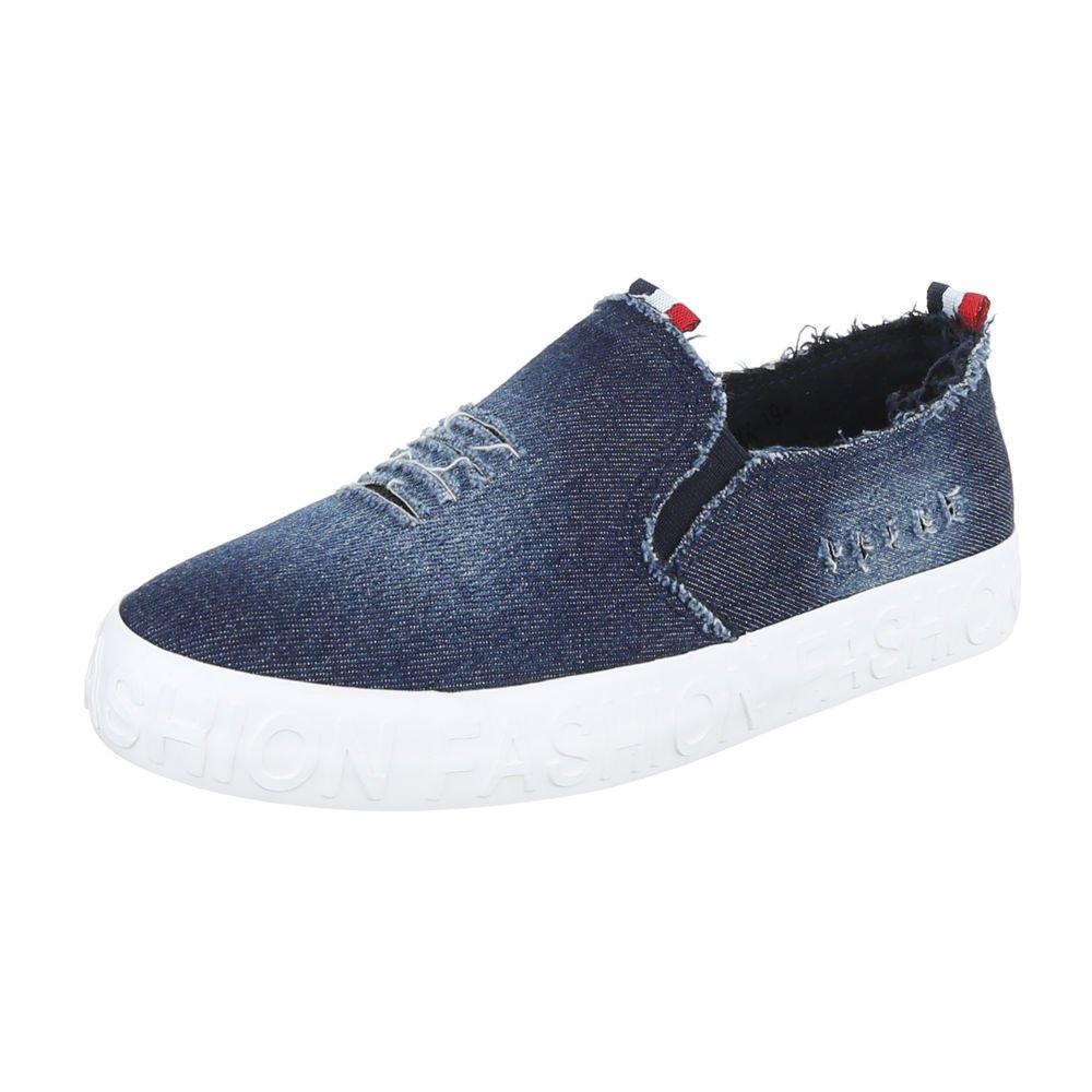 Ital-Design Slipper Damenschuhe Halbschuhe Blau KK192018 Letztes Modell  Mode Schuhe Billig Online-Verkauf