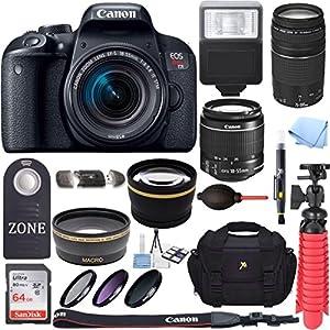 Canon EOS Rebel T7i DSLR Camera + 18-55mm is STM & 75-300mm III Lens Kit + Accessory Bundle 64GB SDXC Memory + DSLR…