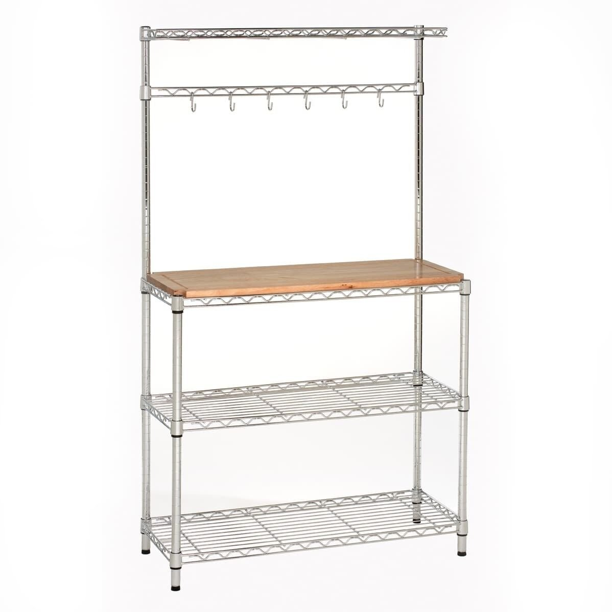 Rack Top Bakers Rubberwood Baker's Silver Metal And Brown UltraZinc