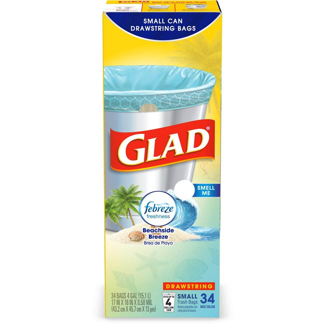 Amazon.com: Glad Small Drawstring Trash Bags - 4 Gallon ...