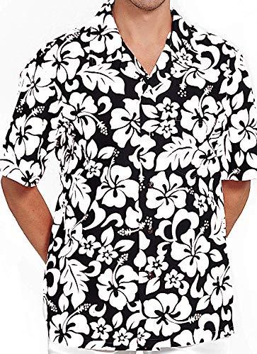 M&B USA Men's Hawaiian Shirt Button Down Casual Aloha Short Sleeve Beach (Black/White, ()