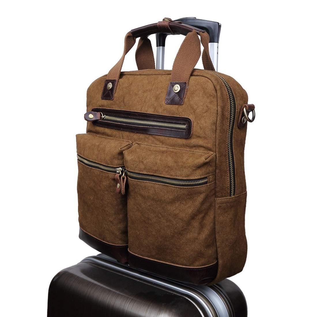 Color : Coffee Color Carriemeow Office Canvas Retro European Style Briefcase Shoulder Messenger Crossbody Satchel Casual Bag Holder for Men Business