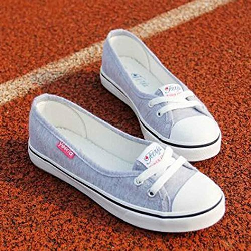 Voberry Women Fashion Canvas Flats Loafers Casual Breathable Flats Slip Shoes (9.5 (RU/EU/CN-40), Gray) by Voberry (Image #1)