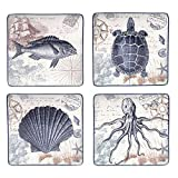 Certified International Coastal Postcards 10.5-inch Assorted Dinner Plates (Set of 4)