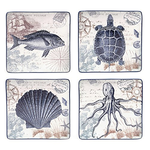 Certified International Coastal Postcards 10.5-inch Assorted Dinner Plates (Set of 4) by Certified International