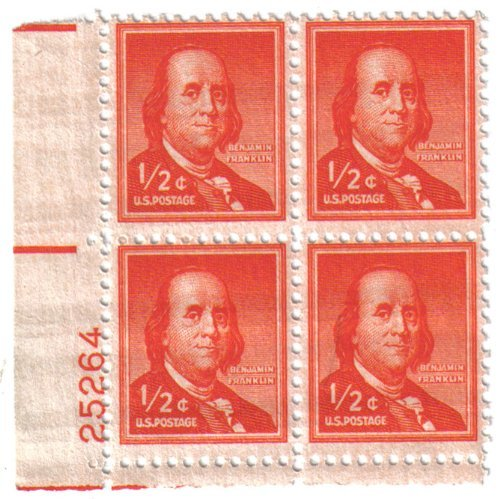 1954 Benjamin Franklin - ½c (Block Of 4 Stamps) from S.T.A.M.P.S
