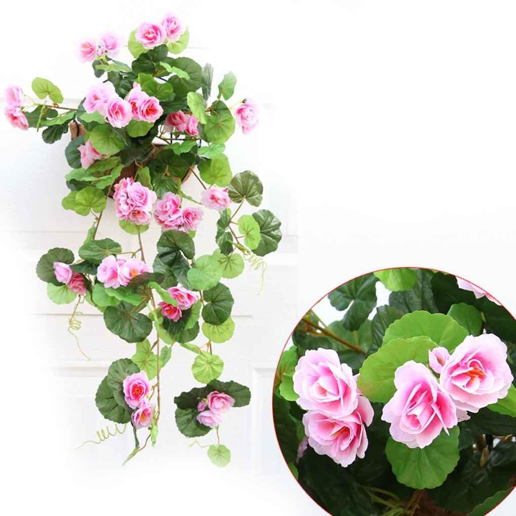 Xuanhemen 人工シルク ベゴニア 花 つるつる 植物 つる DIY ガーランド ホーム 日常用品 ピンク B07G87B2X7 ピンク