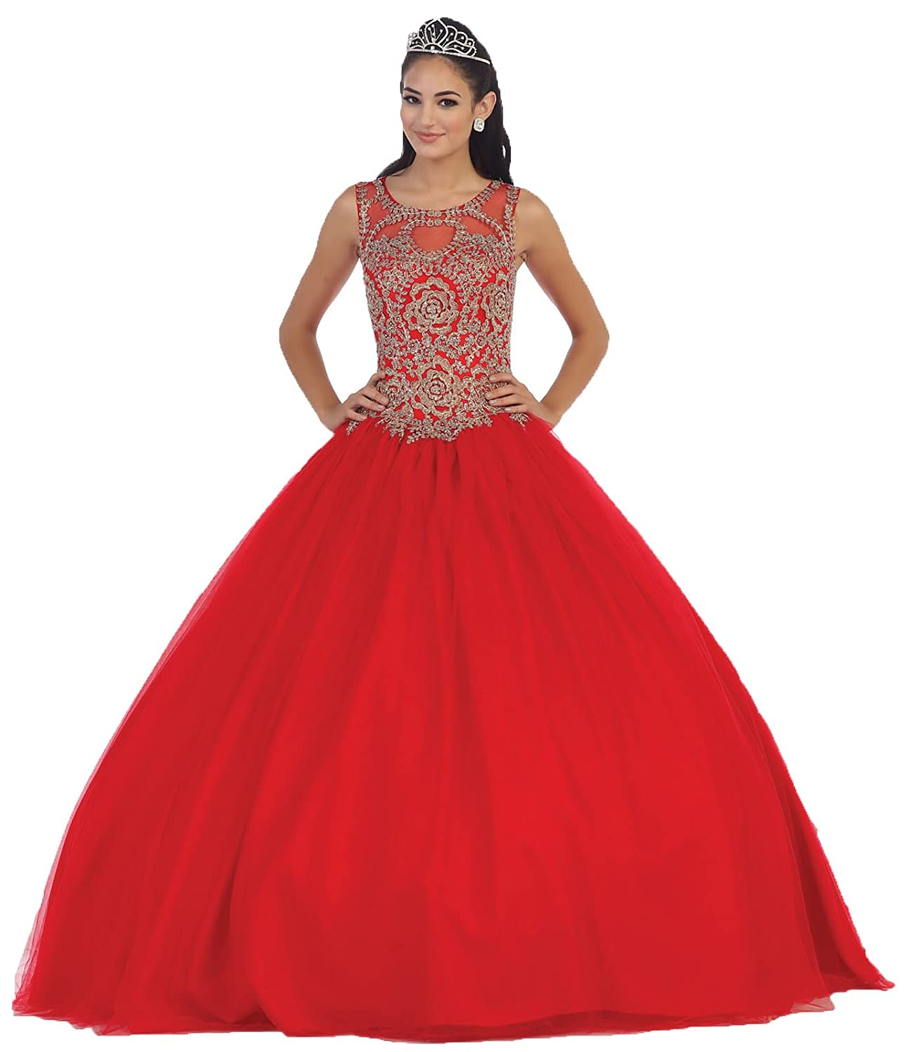 fbbcd6619bc Layla K LK72 Sleeveless Quinceanera Ball Gown at Amazon Women s Clothing  store