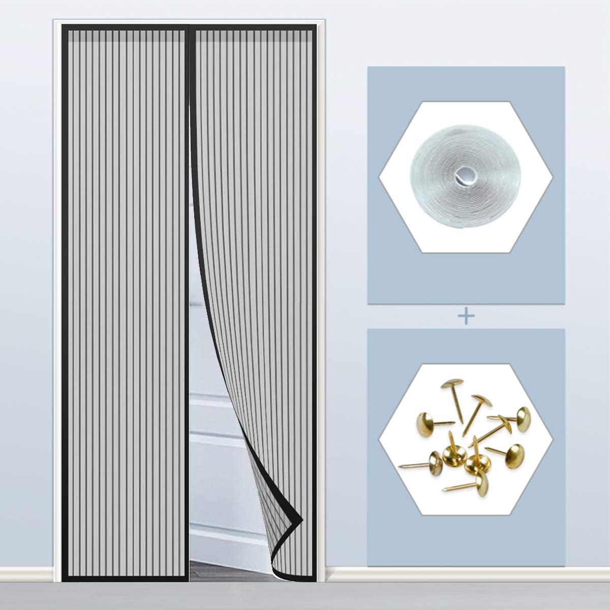 Cortina Mosquitera Magnética 140x210cm(55x83inch) Tejido Súper Fino Magnética Automático Permite Entrada Aire Fresco para Balcón Puerta Corredera de Patio, Negro