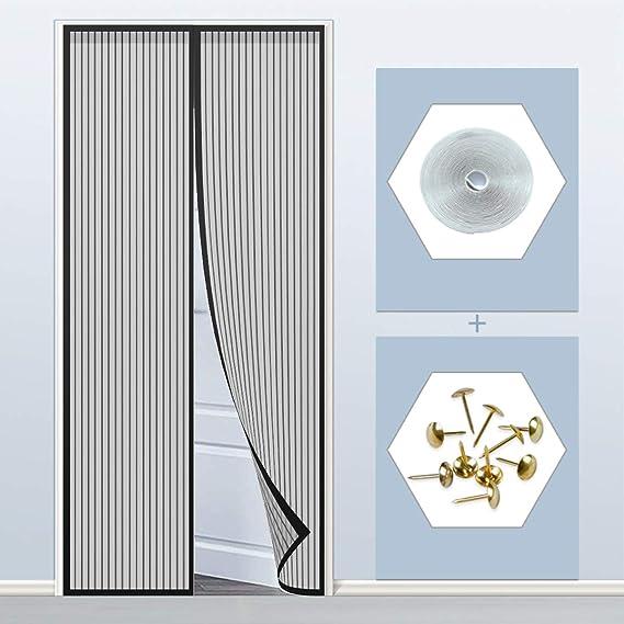 THAIKER Moustiquaire Porte Magn/éTique 28x75inch Moustiquaire Fenetre Anti Insecte Mouche Facile /à Installer Fermeture Automatique pour Couloirs Portes Brown 70x190cm