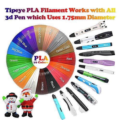 3D Pen Filament Refills PLA 16 Colors 40 Feet 1.75mm with 200 Stencils eBook Total 640 Feet 3D Art Pen Filament for TIPEYE, Canbor, MYNT3D, DigiHero, Zerofire, Dikale, BeTIM 3D Printing Pen and etc by TIPEYE (Image #1)