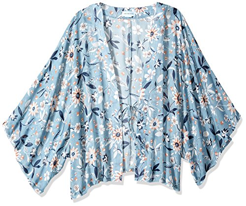 Orchid Row#039s Kimono Printed Chiffon Open Front Blue
