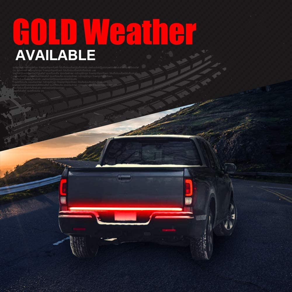 RV SUV Boats Truck Tailgate Weatherproof No Drill Install for Pickup PK-02 GoodRun 48 Triple LED Tailgate Light Bar w//Sequential Amber Turn Signal White Reverse Lights Parking Brake