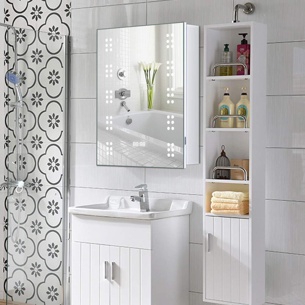 Warmiehomy Modern Illuminated Bathroom Mirror Cabinet 60 LED Bathroom Mirror with Lights Shaver Socket Demister and Sensor