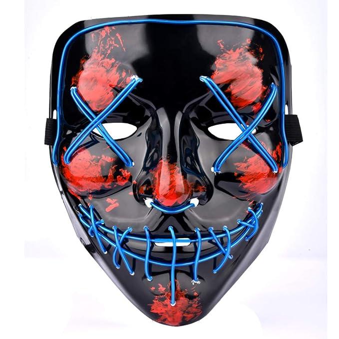 AUSHEN Halloween Máscara LED Ligero Gracioso Máscaras Estupendo Festival Cosplay Máscara Purga LED Máscara de Payaso (Azul): Amazon.es: Juguetes y juegos