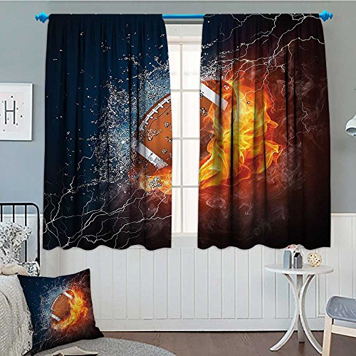 Strongger Sports Decor Collection Window Curtain Drape Football on Fire and Water Flame Splashing Thunder Lightning Abstract Print Decorative Curtains for Living Room 52