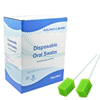 MUNKCARE Dental Swabs Unflavored Swabsticks-Oral Cavity Cleaning Mouth Swab, Tooth Shaped, Untreated Unflavored, Box of 150 counts (Fruit Green)
