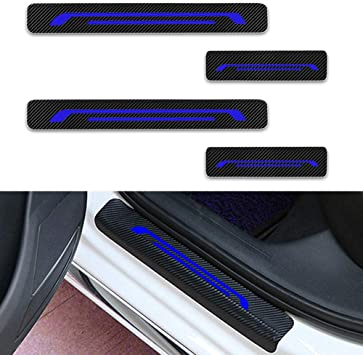 For XF E-Pace Door Sill Protector,Kick Plates Pedal Threshold Cover Carbon Fiber Sticker Anti-Scratch Anti-Slip Car Styling 4Pcs Red