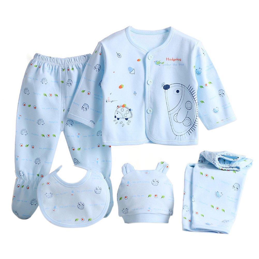 Per 5 Pièces Ensemble de Costumes pour Nouveau-né Bébé avec Beau Modèle de Hérisson - 2 Pantalons + Vêtements + Bavoir + Bonnet (Rose)