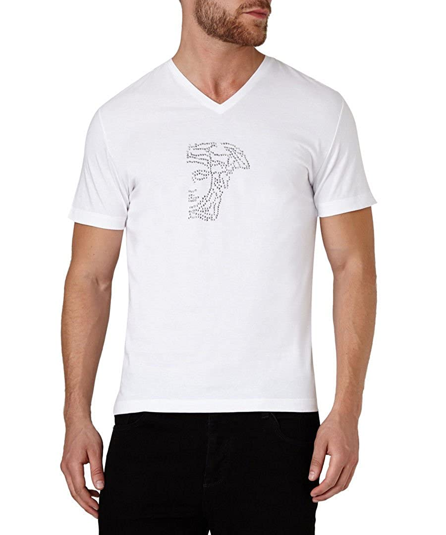 8947cb41732 Amazon.com  Versace Collection White V-neck Half Medusa Studded Logo Short  Sleeve T-shirt (XL)  Clothing