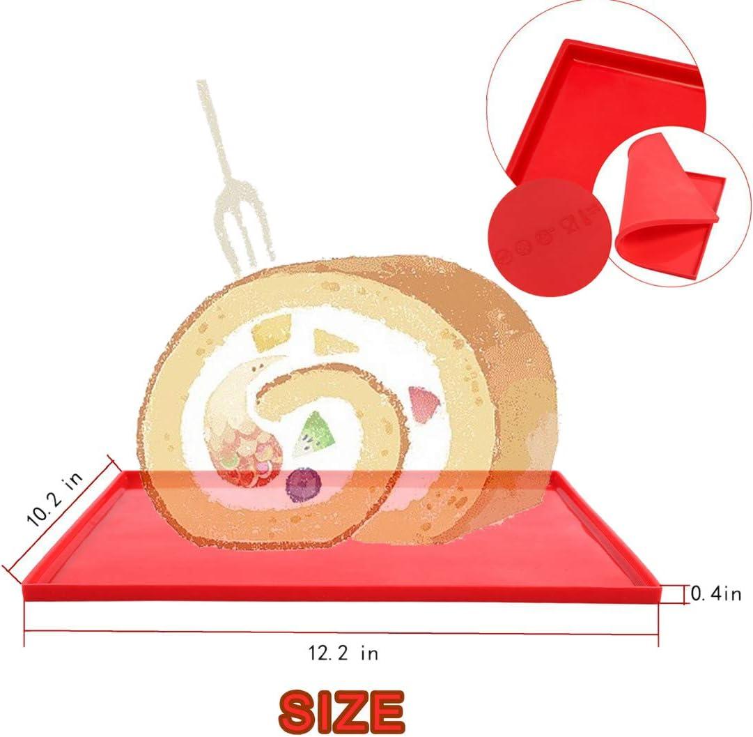Bigpea 2 Piezas Swiss Roll Cake Mat Bandeja Flexible para Hornear Jelly Roll Pan Silicona Cookies Molde para Hornear