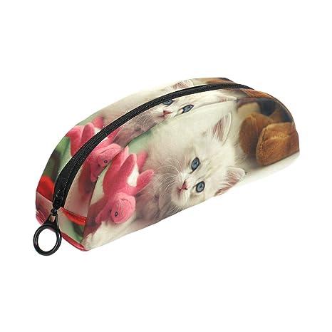 COOSUN - Estuche para lápices de gatos, diseño de semicirculos, bolsa para bolígrafos,