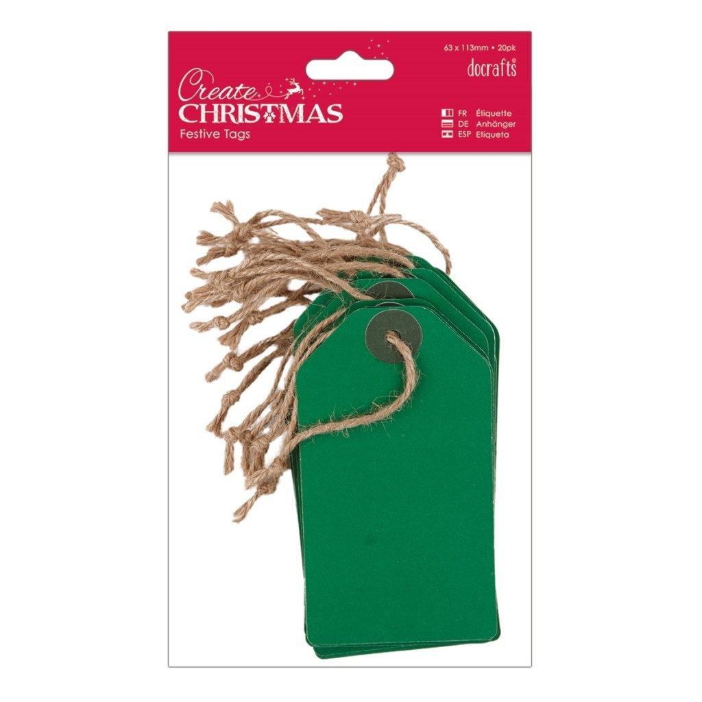 Papermania Create Christmas 20 x Green Kraft Card Gift Tags Hessian Strung