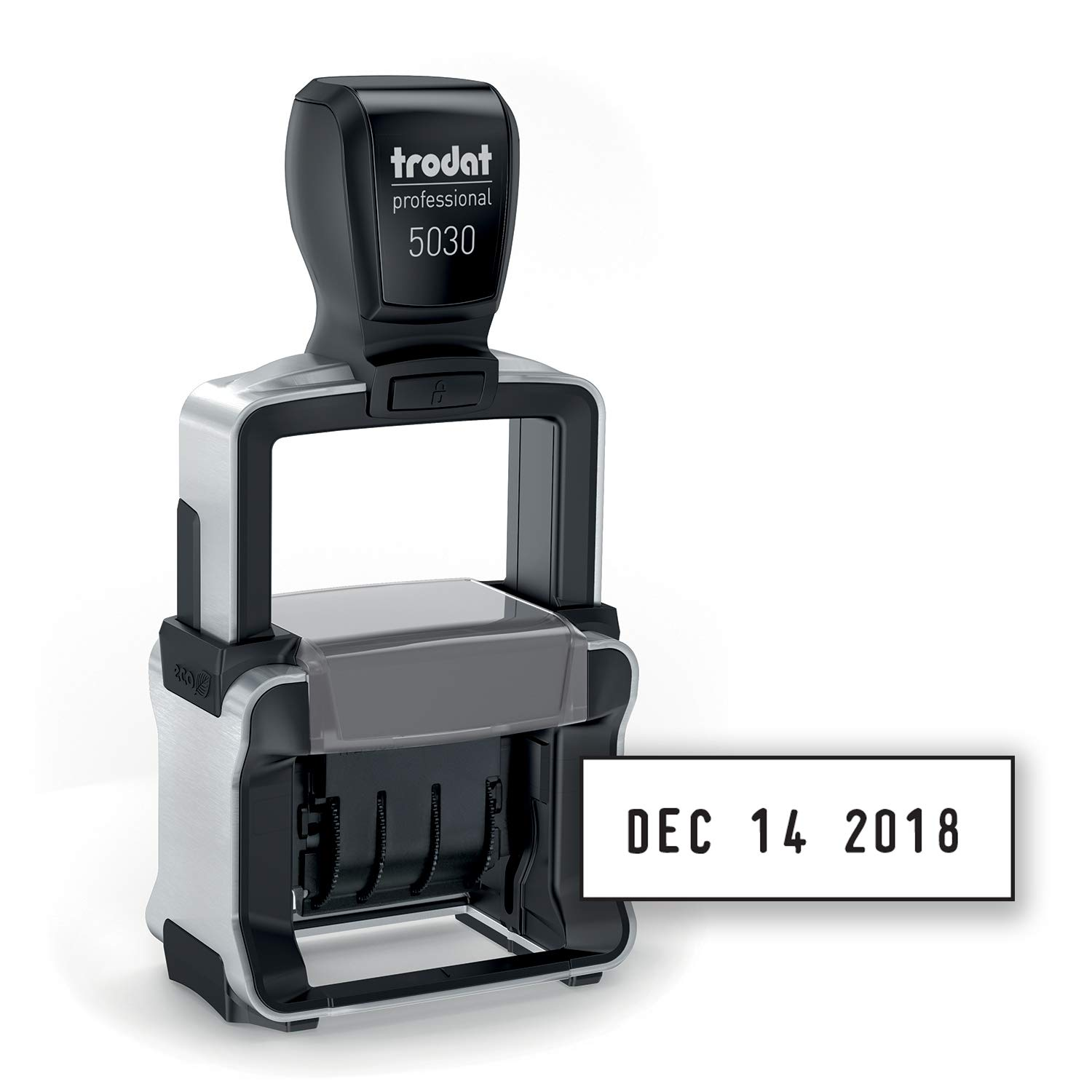 Trodat Professional 4.0 Date Stamp, Dater, Self-Inking, Impression Size: 1 5/8 x 3/8 Inches, Black (T5030) by Trodat
