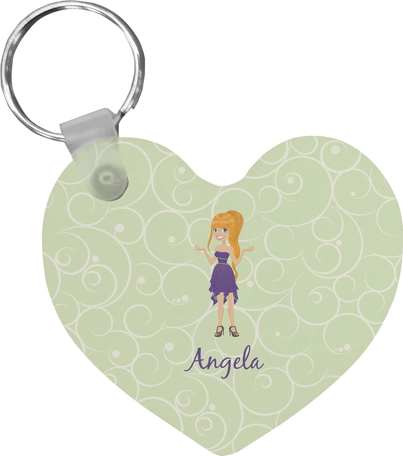 Custom Character (Woman) Heart Keychain (Personalized)