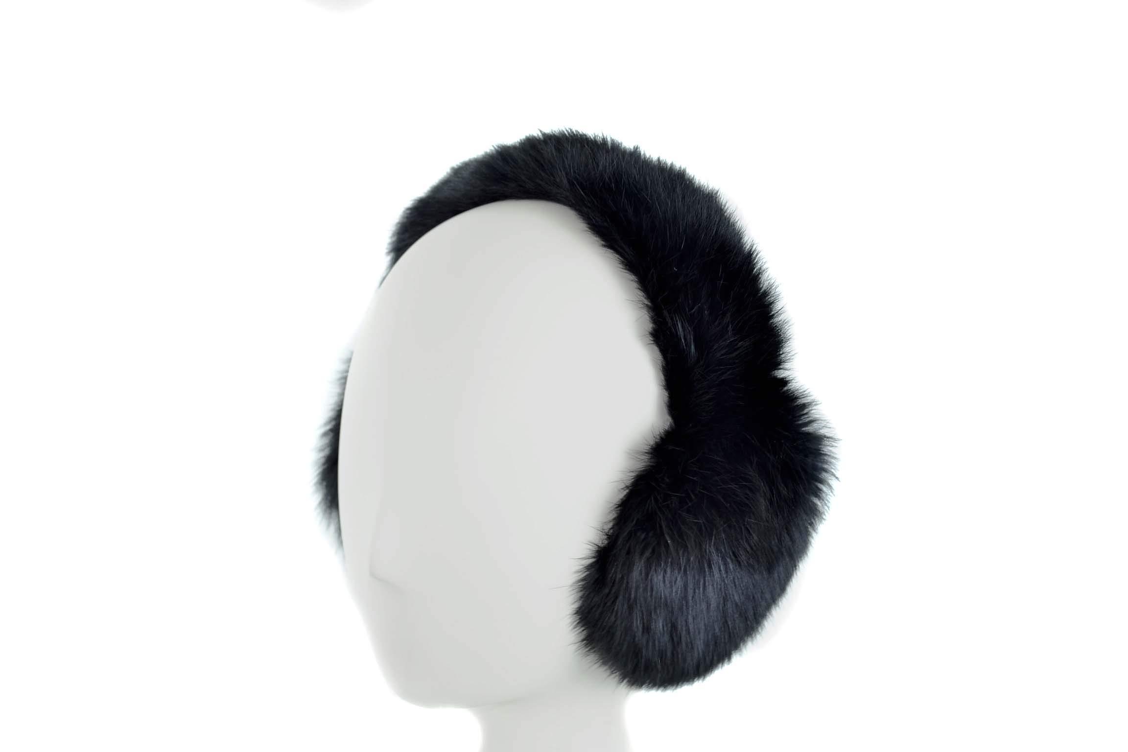Surell Genuine Black Rabbit Fur Earmuffs with Soft All Fur Non Adjustable Band, Winter Fashion Ear Warmers, Perfect Elegant Women's Luxury Gift