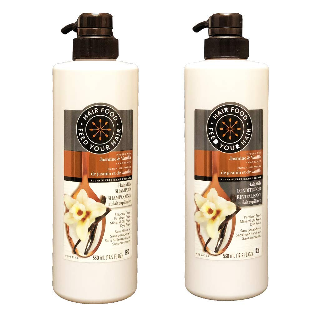 Hair Food Sulfate Free Hair Milk Conditioner and Shampoo Infused with Jasmine & Vanilla Fragrance (Set)