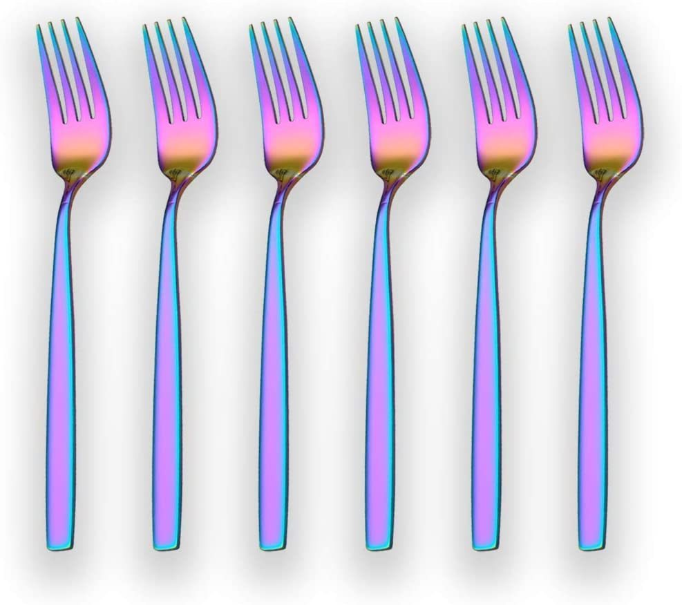 Berglander Rainbow Tea Fork, Stainless Steel Cake Fork Dessert Fork With Titanium Colorful Plating 6.5 Inches Forks Pack of 6