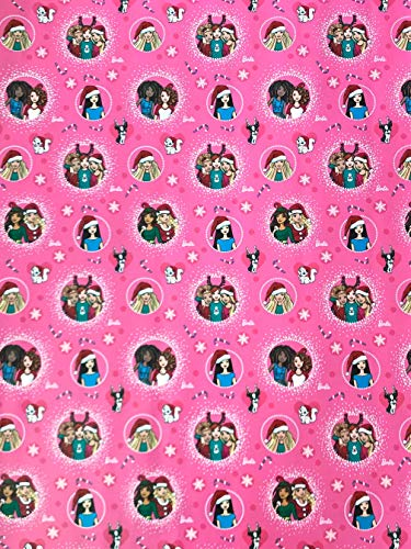 Barbie Christmas Gift Wrap - One Roll Wrapping Paper, 20 Square Feet -