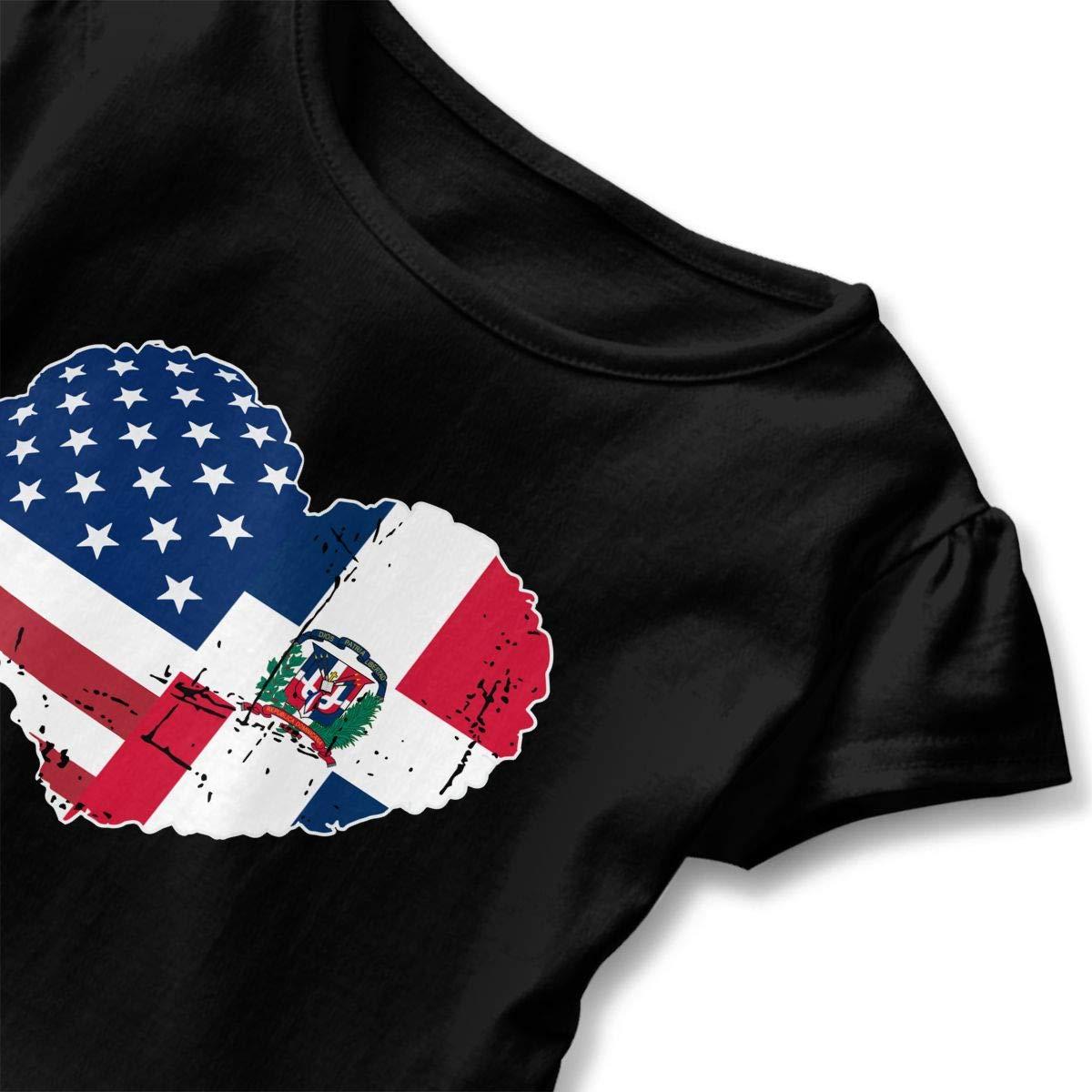 SHIRT1-KIDS Dominican Republic USA Flag Heart Toddler//Infant Girls Short Sleeve T Shirts Ruffles Shirt Tee for 2-6T