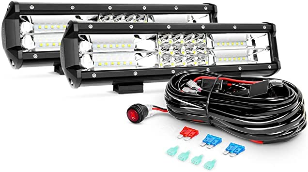Amazon.com: Nilight 2PCS 12Inch 180W Triple Row Flood Spot Combo LED Light  Bar 18000LM Led Bar with Off Road Wiring Harness, 2 Years Warranty:  AutomotiveAmazon.com