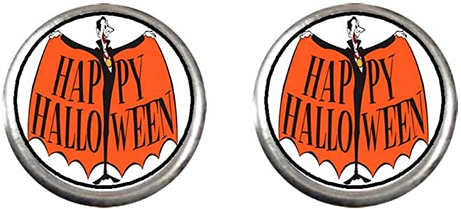 Chicforest Silver Plated clown with Happy Halloween letter Photo Stud Earrings 10mm Diameter