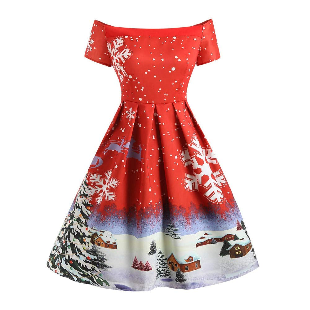 Fashion Women Christmas Short Sleeve Dress=Ladies Vintage Snowflake Print Off Shoulder A Line Swing Dress Evening Party Dress