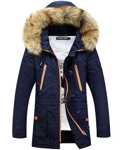 Laisla fashion Cappotto Invernale in Cotone da Uomo Cappotto Invernale con  Collo in Classiche Pelliccia Pelliccia a03bbf0da79