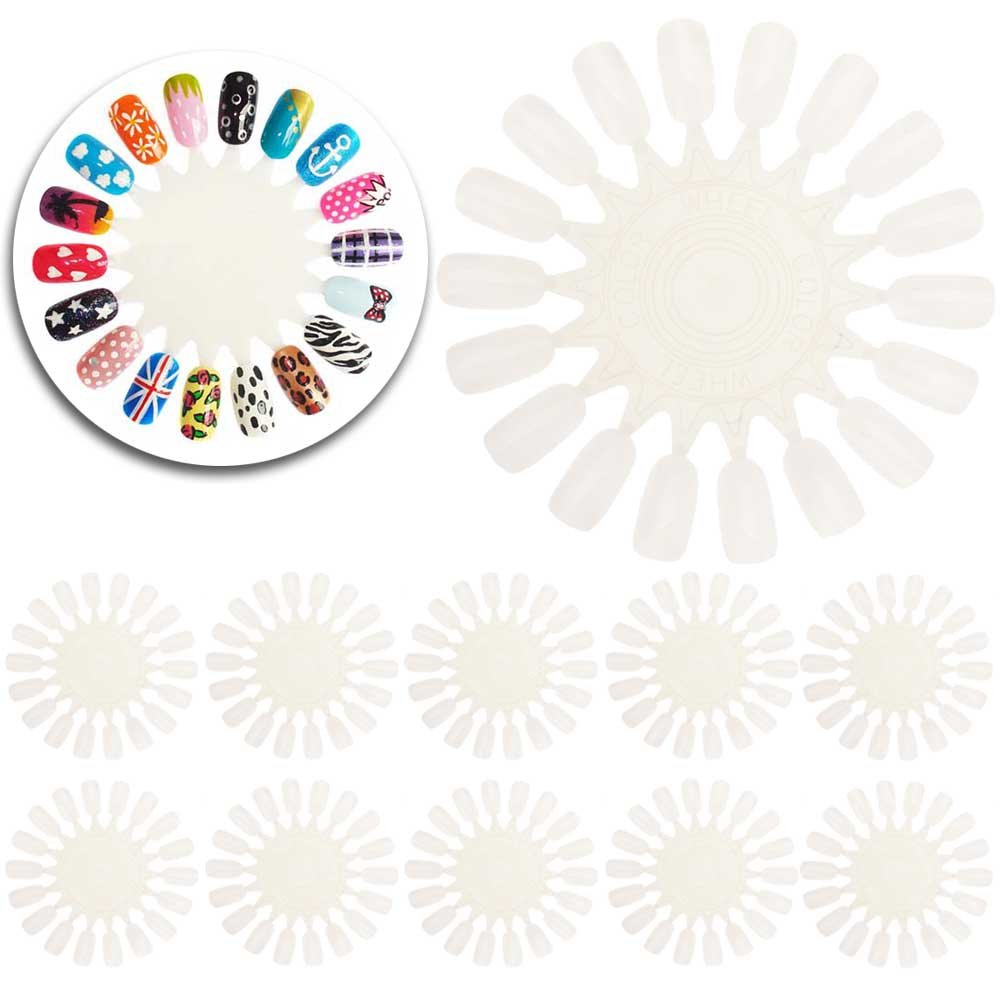 Amazing Value Set of 10 Wheels With Each 18 Natural White False Nails / Nail Art Tips For Designs Display And Practice By VAGA