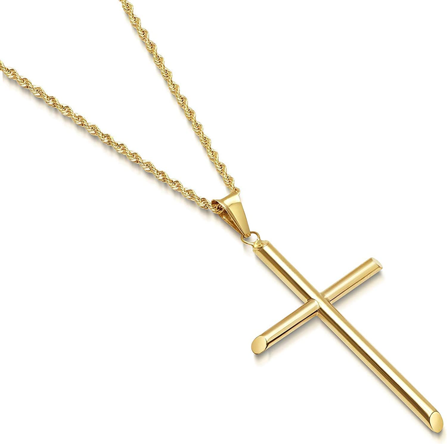 Hollywood Jewelry 14kt Gold Chain Cross Pendant 3MM Solid Plated Clasp for Men, Women, Teens. Diamond Cut Religious Necklace Charm Faith and Love