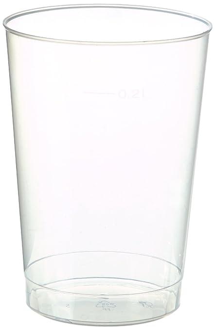 Papstar Plastikbecher / Einwegbecher 0.2 l transparent (40 Stück) Ø 6.8 cm Höhe 9.8 cm aus Polystyrol, stabile, splitterfreie